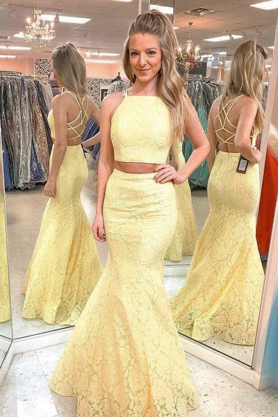 Two Pieces Halter Prom Dresses Formal Dresses Wedding Party Dresses LPD145 - LaRovias