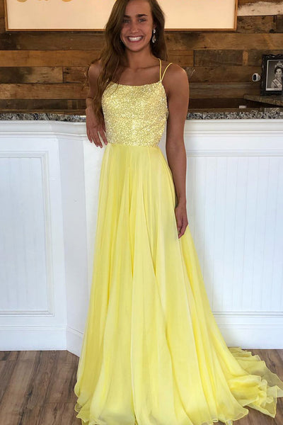Chiffon Beaded Prom Dresses Formal Dresses Wedding Party Dresses with Spaghetti Straps LPD147 - LaRovias