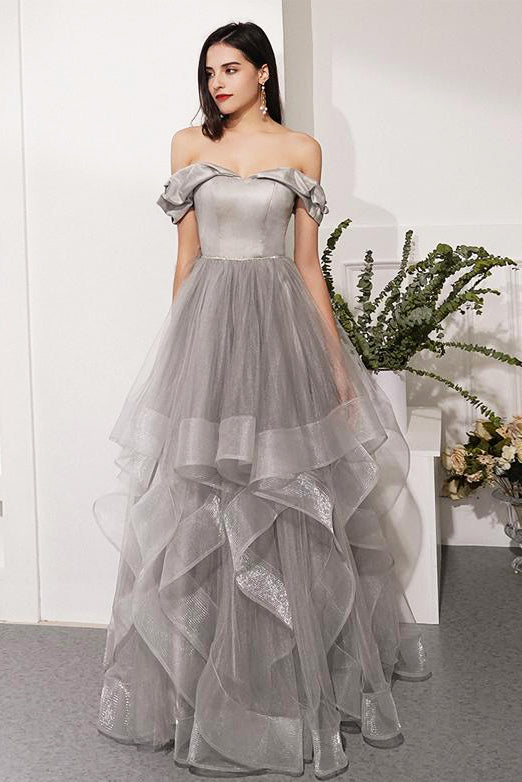 Off the Shoulder Organza Prom Dresses Formal Dresses Wedding Party Dresses LPD158 - LaRovias