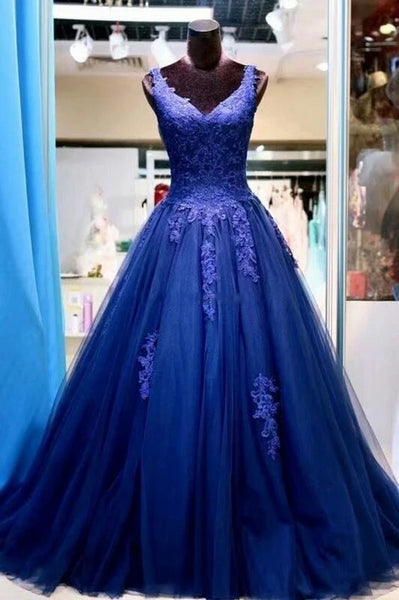 Royal Blue Tulle and Lace Prom Dresses Wedding Party Dresses LPD188 - LaRovias
