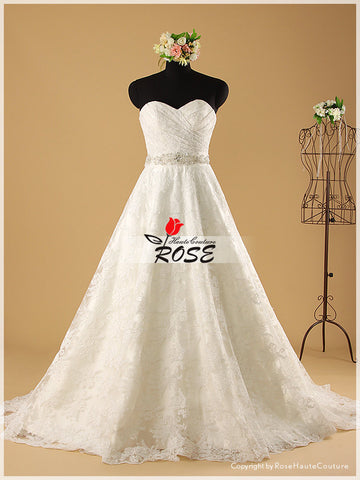 strapless sweetheart lace a line wedding dress chapel train beaded organza sash wd001 - LaRovias