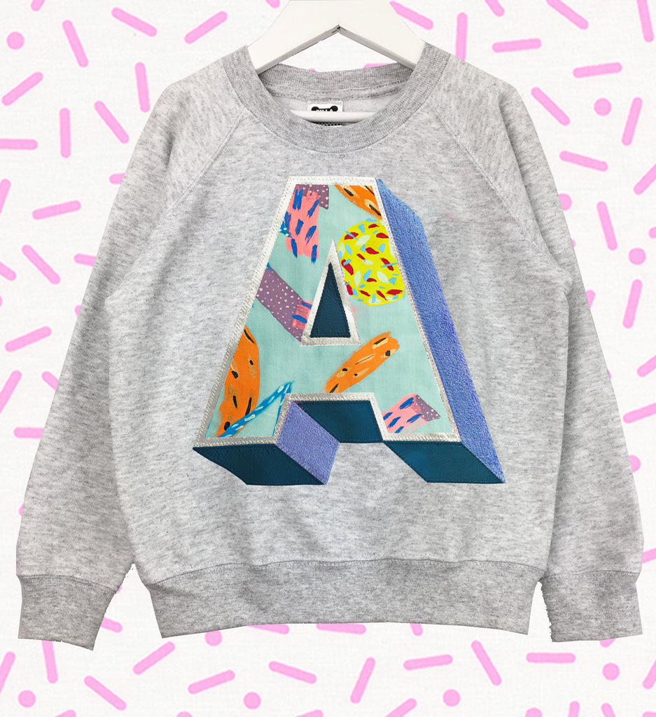 Sale - Age 7/8 'A' Grey Sweatshirt - Emotional Waterfall x Zilla - mint