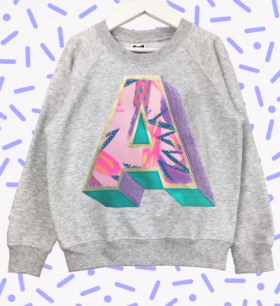 Sale - Adults Small Grey 3D 'A' Letter Sweater - Emotional Waterfall x Zilla - pink