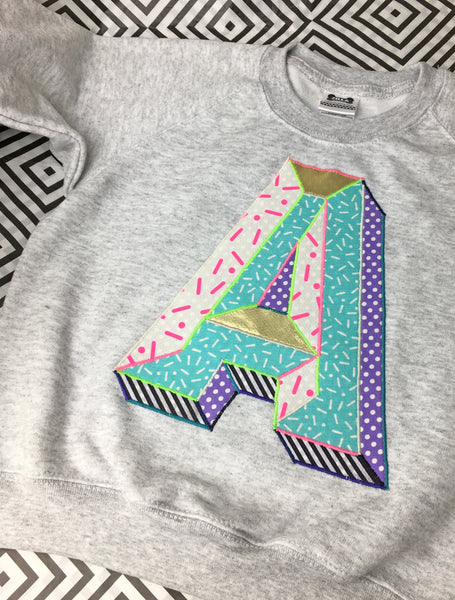 Kids 3D Letter Sweater - multi