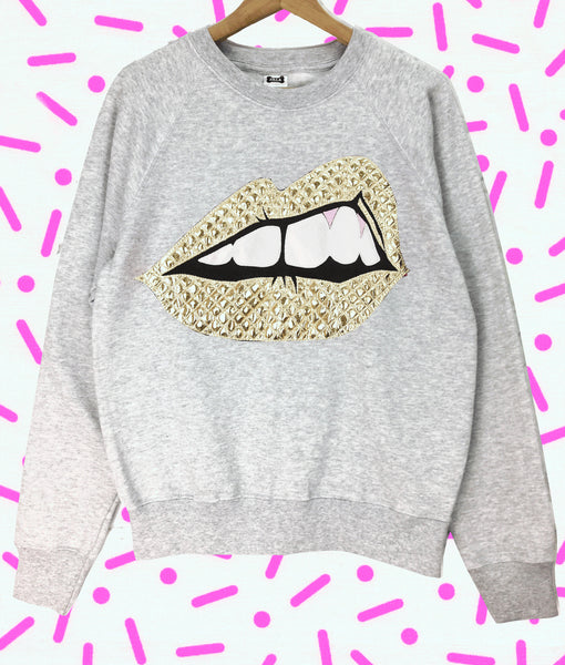"Sale - Adults XL and M Grey Bite Back Sweatshirt - ""The Bomb"" (Gold)"