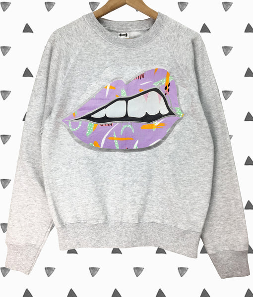 Sale - Adults Small Grey Bite Back Sweatshirt - Emotional Waterfall x Zilla Collab in Lilac
