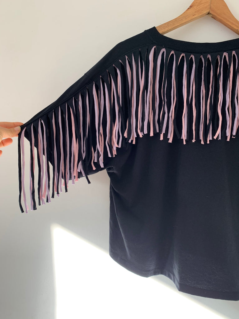 Size S and XL Fringed Oversized Tee