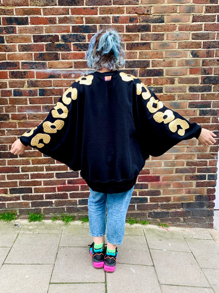 Super Oversized Batwing Bonnie - Black and Gold