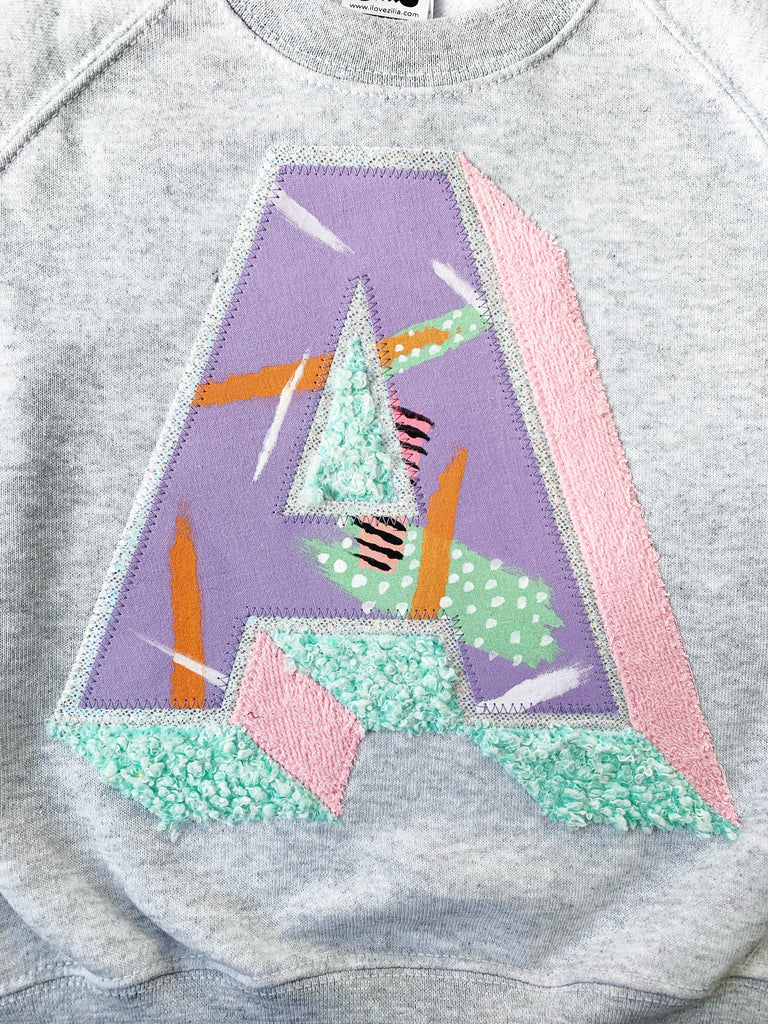 Sale - Age 5/6 'A' Grey 3D Letter Sweater - Emotional Waterfall x Zilla - lilac