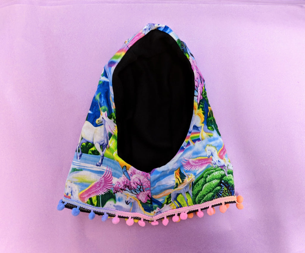 Sale - Childs reversible snood in black wool and unicorn print cotton