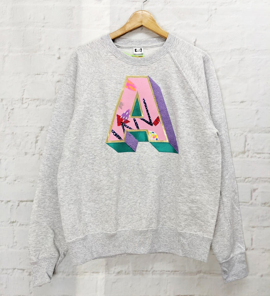 Sale - Adults Medium 'A' Grey 3D Letter Sweater - Emotional Waterfall x Zilla - pink