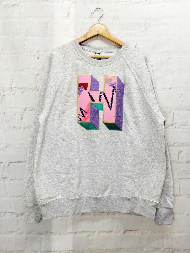 Sale - Adults Large 'H' Grey 3D Letter Sweater - Emotional Waterfall x Zilla - pink