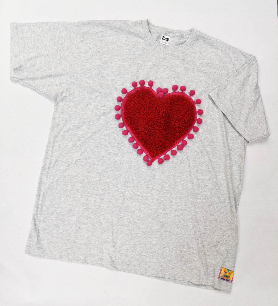Sale - XXL Grey Tee - One Off Teddy Fur Heart