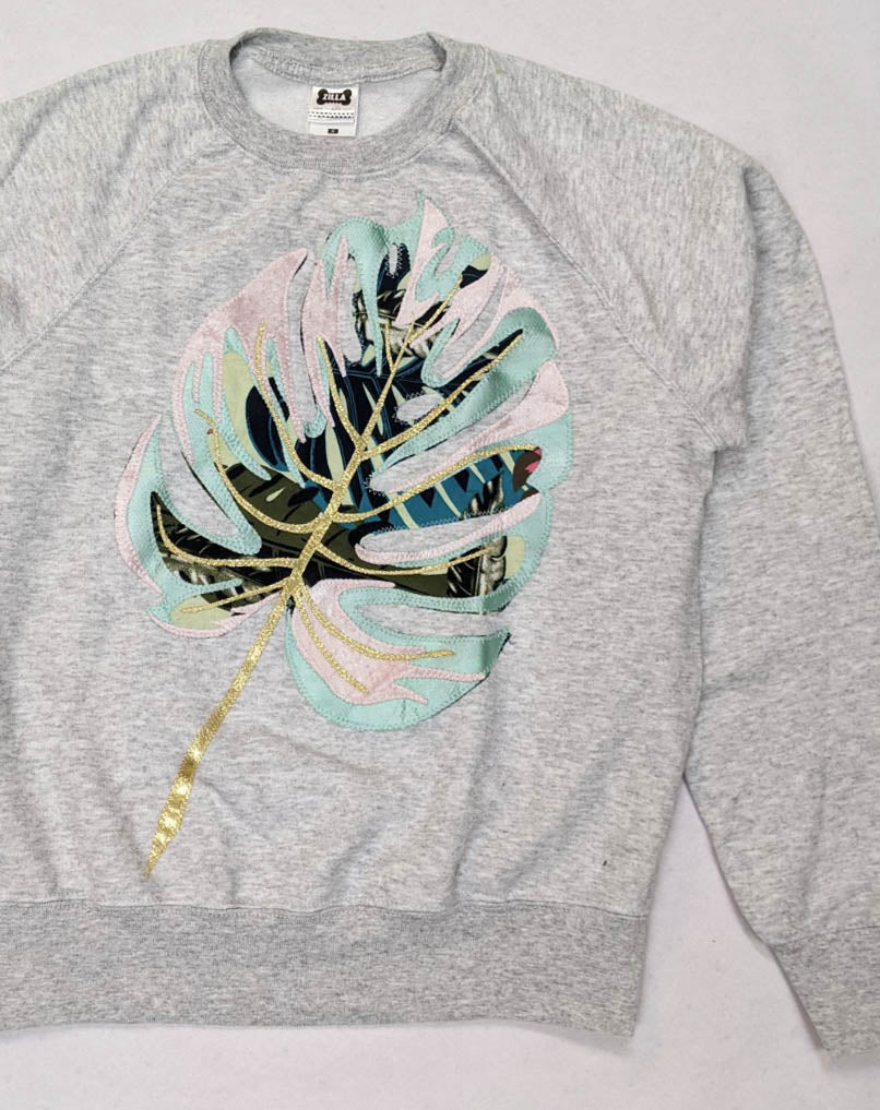 Sale - Size S Monstera Leaf Applique Sweatshirt