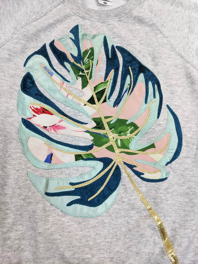 Sale -Size S Monstera Leaf Applique Sweatshirt
