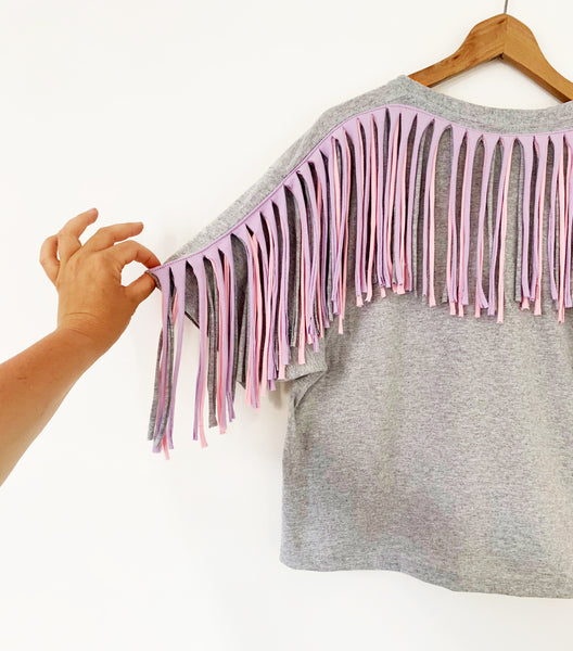 Sale - Size S Fringed Oversized Tee Grey