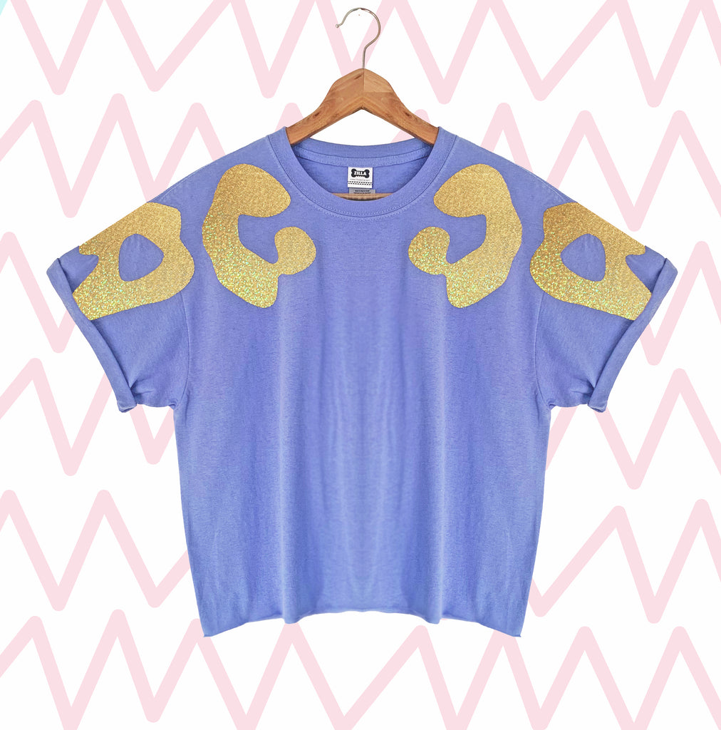 Sale - Size L Iridescent Gold Bonnie Appliqué Oversized Tee LONGER LENGTH