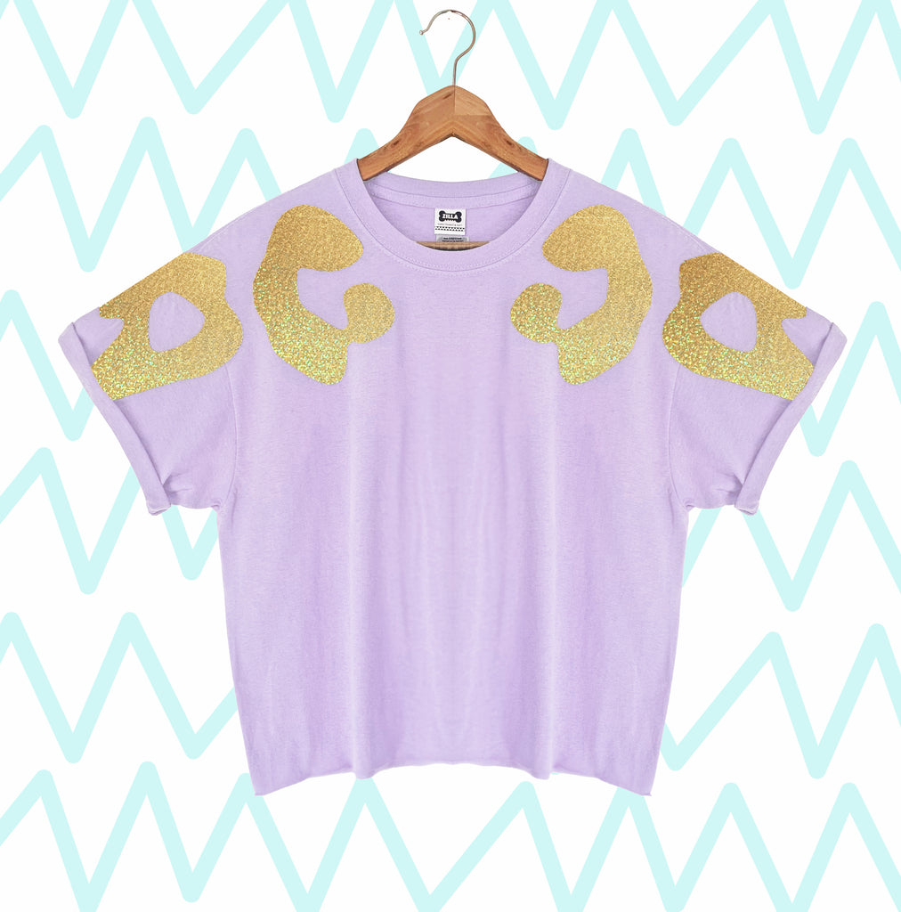 Iridescent Gold Bonnie Appliqué Oversized Tee
