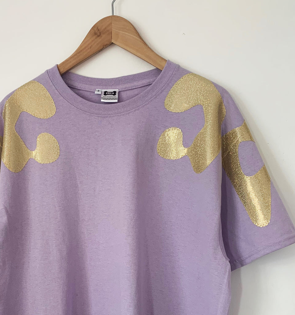 Sale - Size S Iridescent Gold Bonnie Appliqué Oversized Tee