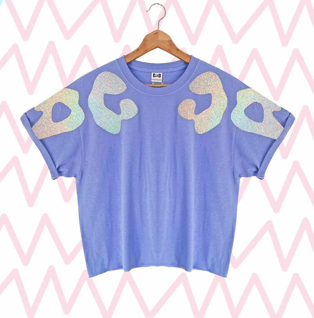 Iridescent Silver Bonnie Appliqué Oversized Tee
