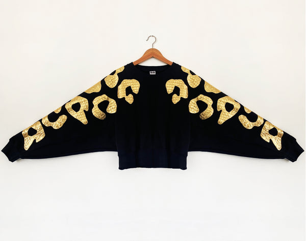 Sale - Size L Batwing Bonnie - Black and Gold