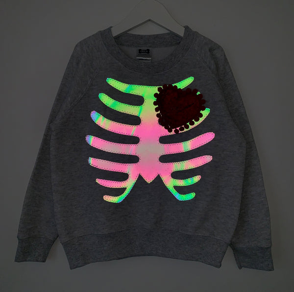 Sale - Dem Bones *Rainbow Reflective* Sweatshirts - Adults Size M