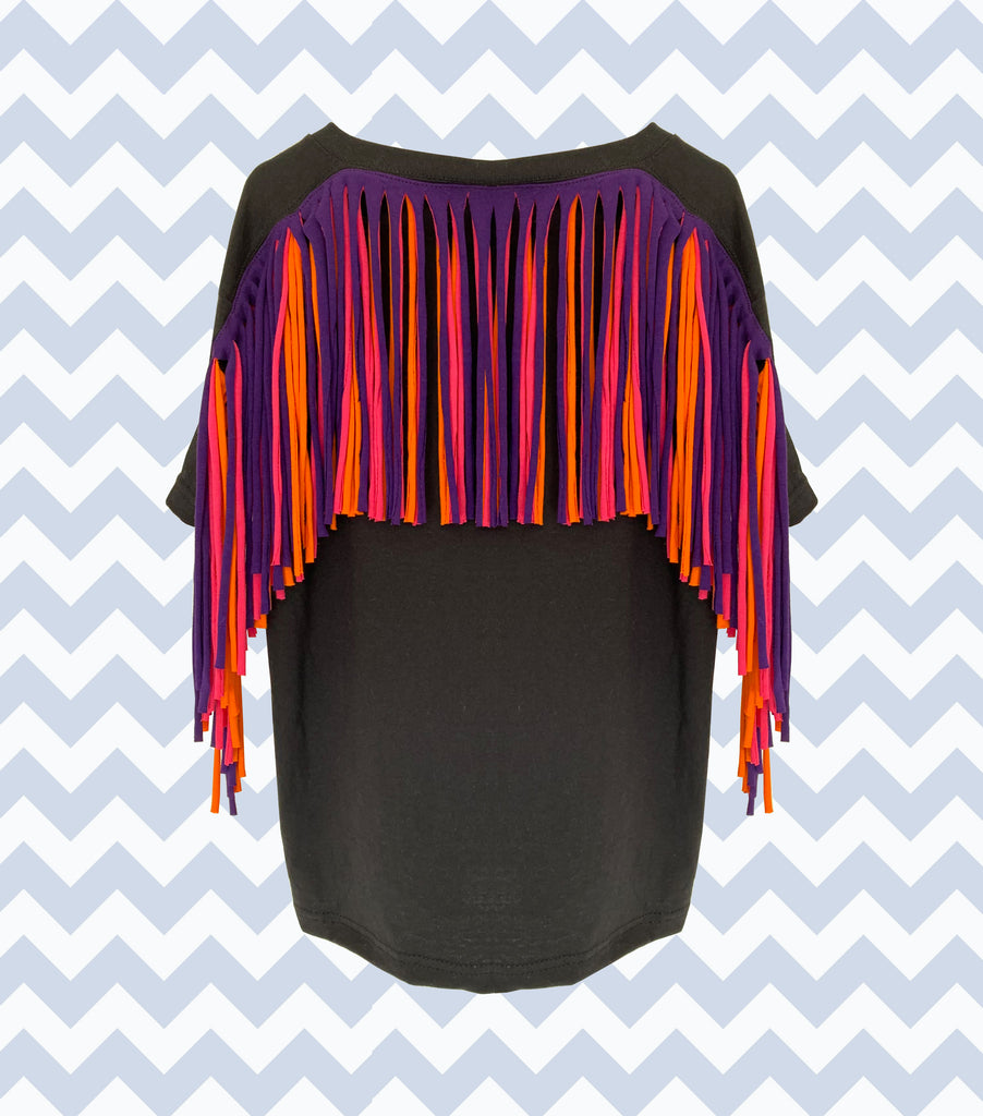 Sale - Fringed Tees - Adults Size L - Black with Pink / Orange Fringing