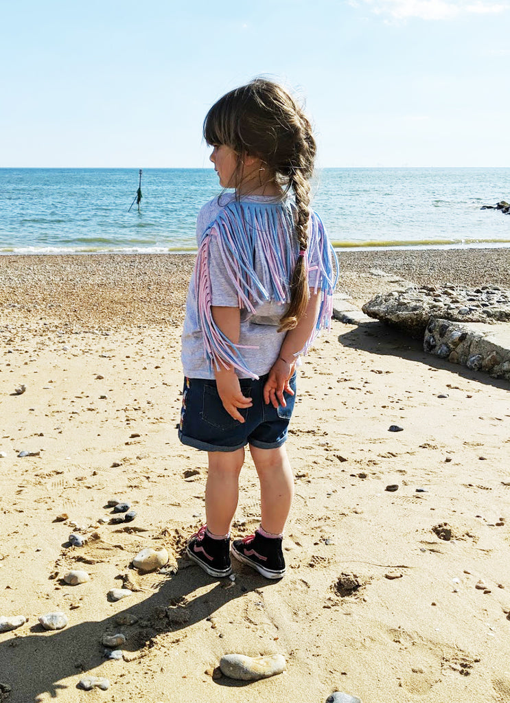 Sale - Fringed Tees - Kids size 7/8 Various Colours