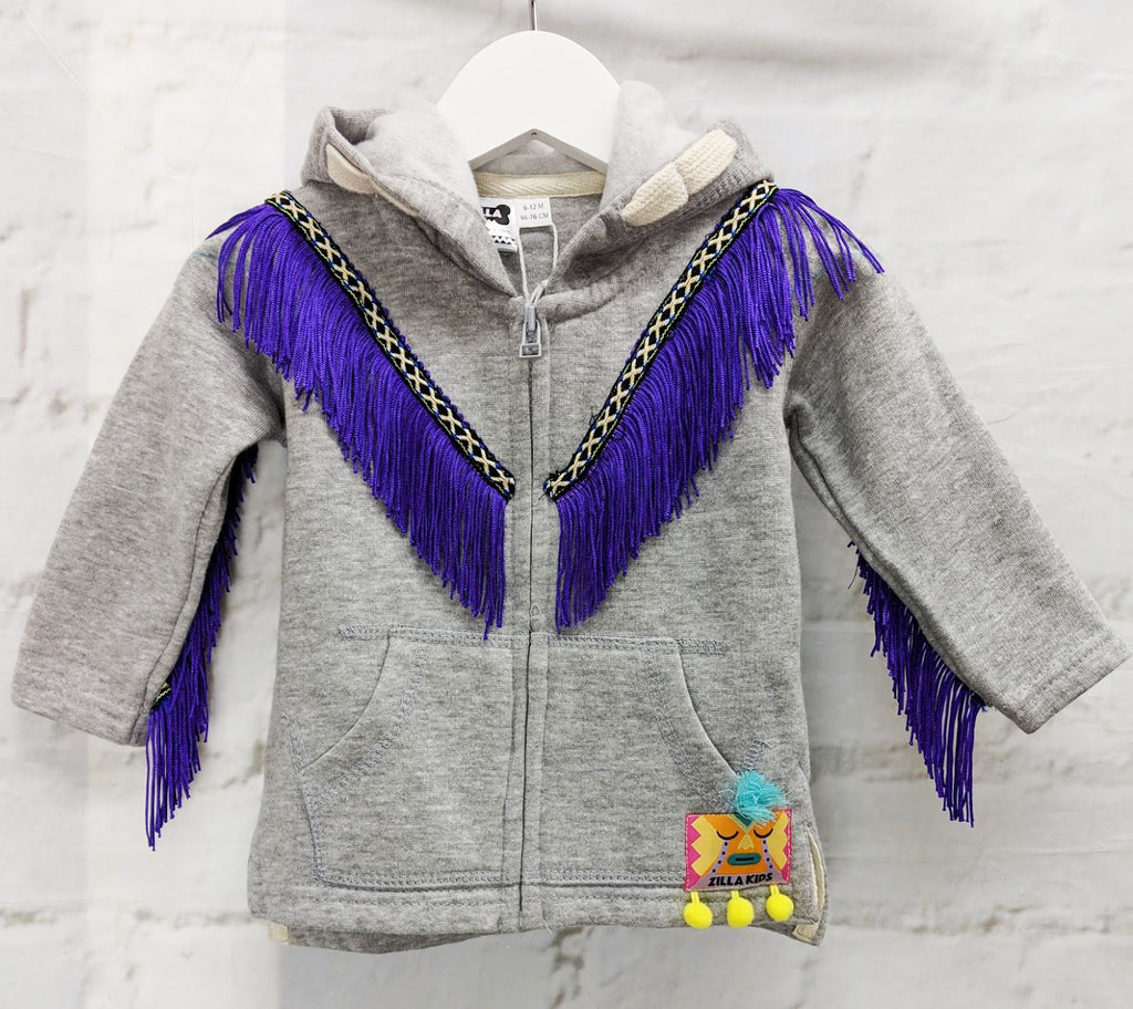 Sale - Age 6-12 months Fringed Baby Hoodie