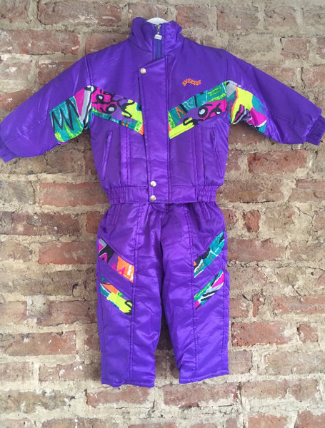 Vintage Matching Ski Jacket and Salopettes - Purple