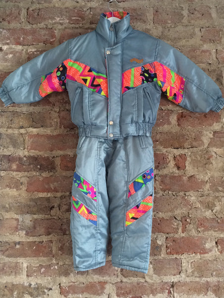 Vintage Matching Ski Jacket and Salopettes - Silver
