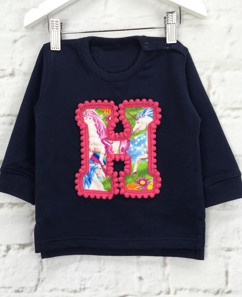 SALE Baby Size 6-12 'H' Organic Letter Sweater