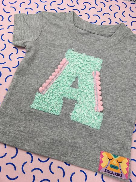 SALE Baby Size 0-6 'A' Organic Letter Tee