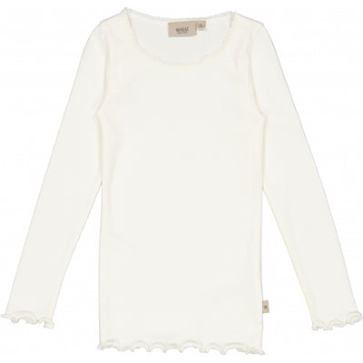 Wheat Ribbet T-skjorte Lace LS Jersey Tops and T-Shirts 3182 ivory