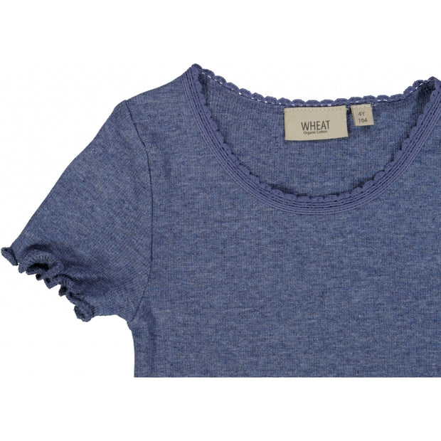 Wheat Ribbet T-skjorte Lace SS Jersey Tops and T-Shirts 1076 blue melange