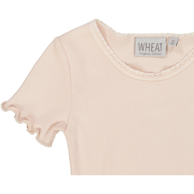 Wheat Ribbet T-skjorte Lace SS Jersey Tops and T-Shirts 2400 powder