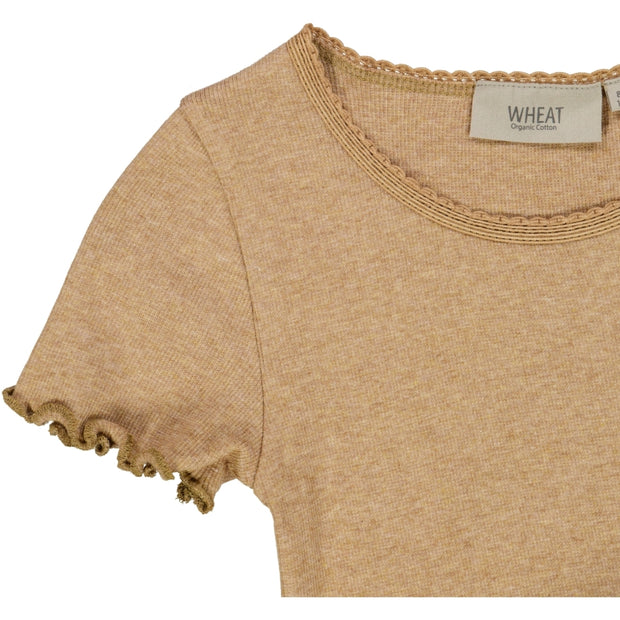 Wheat Ribbet T-skjorte Lace SS Jersey Tops and T-Shirts 3230 sand melange