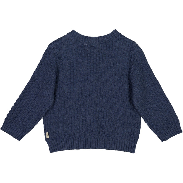 Wheat Strikket Cardigan Alf Knitted Tops 1076 blue melange