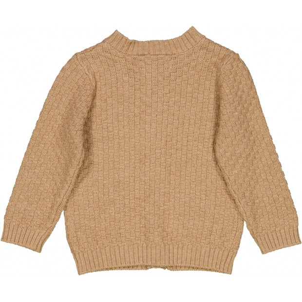 Wheat Strikket Cardigan Alf Knitted Tops 3230 sand melange