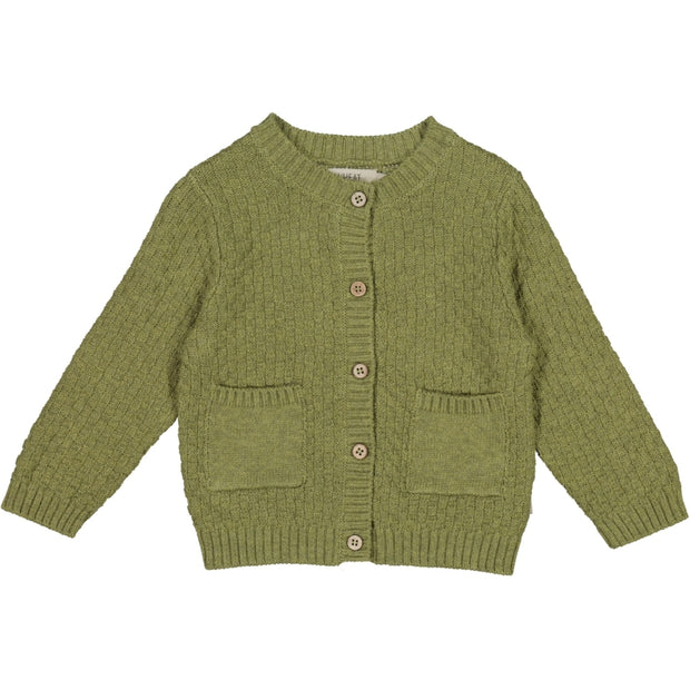 Wheat Strikket Cardigan Alf Knitted Tops 4120 green melange