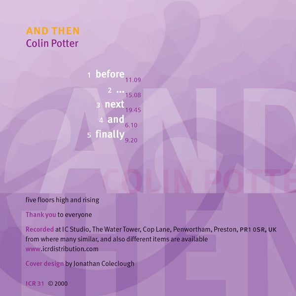 Colin Potter  'And Then'  CD