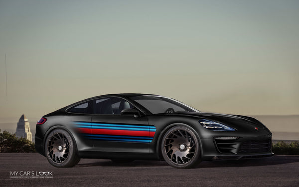 Porsche Panamera Coupe black Martini graphics