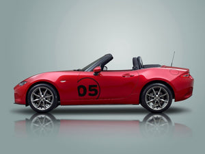 Mazda MX5 Miata door panel side graphics decal racing number