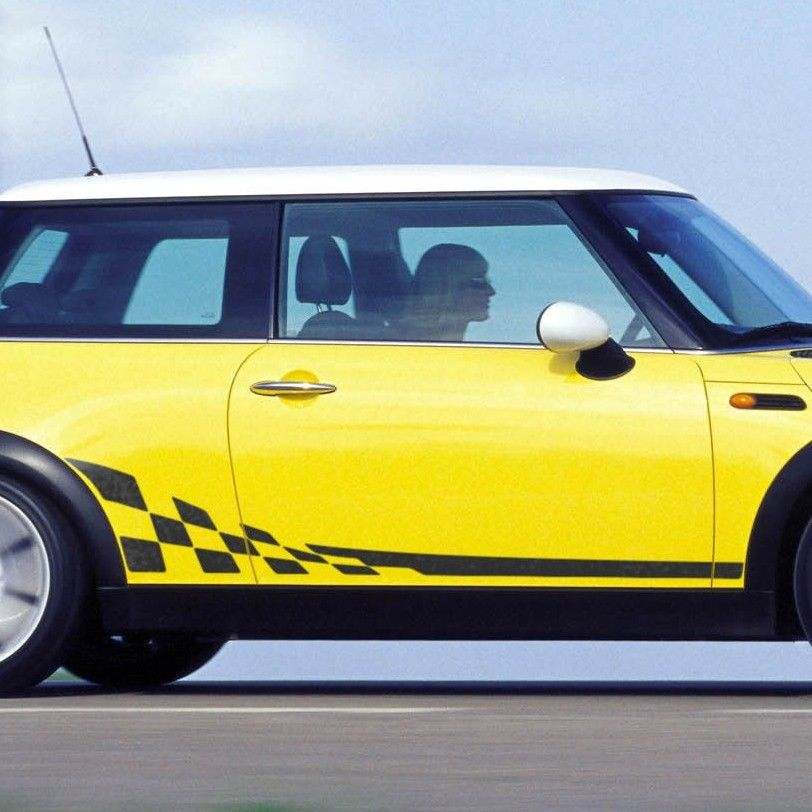 Mini Cooper R50 R53 checkered flag side stripes graphics decals