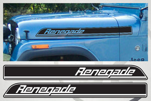 Jeep Wrangler Renegade Hood Side Stripes graphics Decals Kit CJ, TJ, YJ sticker