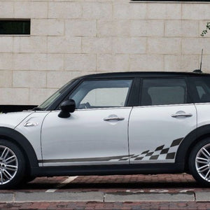 Mini Cooper F56 4 Doors 2014-2016 checkered flag side stripes graphics decals