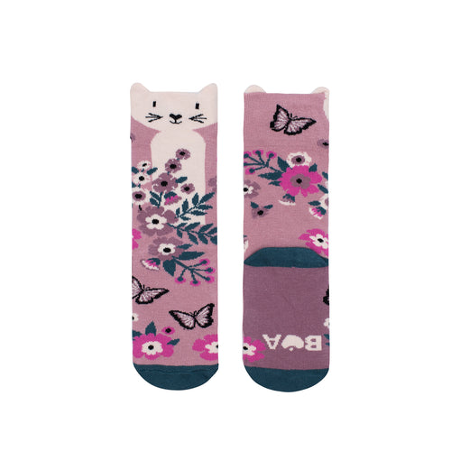 Springtime Kitty Midi Socks