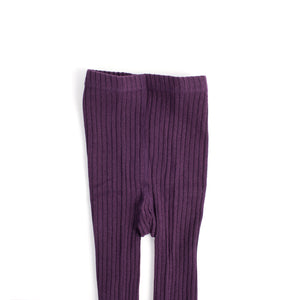 Tri Colour Ribbed Footless Tights