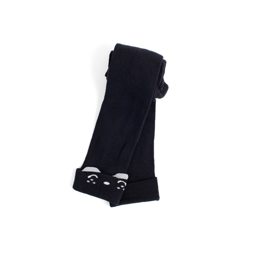 Toddler Black Bear Footless Tights