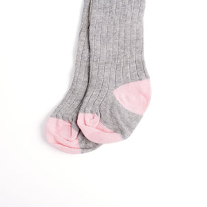 Infant/Toddler Wide Ribbed Tights with Contrasting Toes